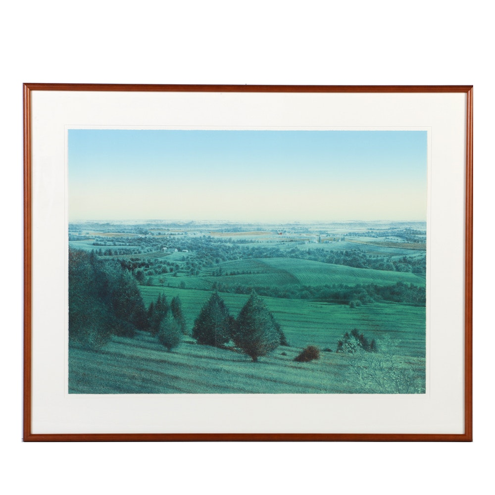 "James Butler Limited Edition Color Lithograph ""Midsummer Landscape"""