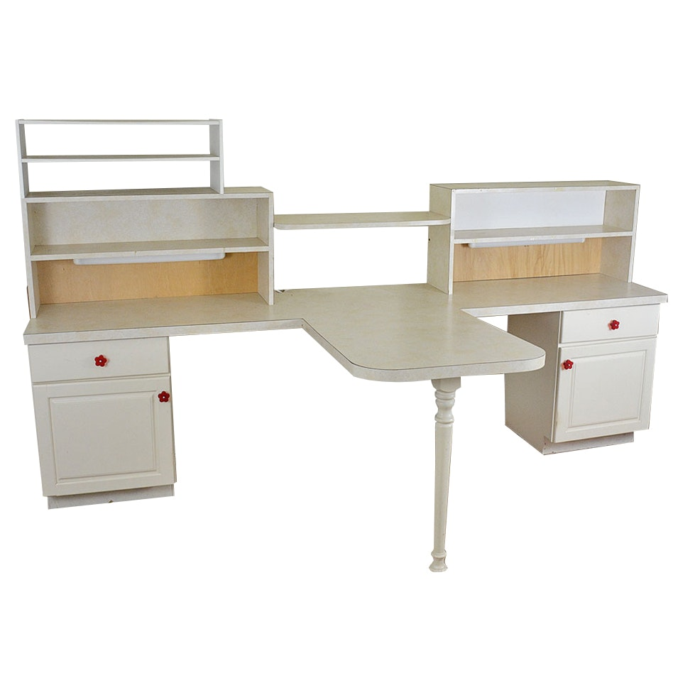 Two Sided Craft Desk with Storage EBTH