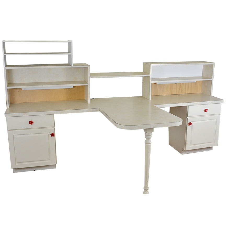 Large two sided craft desk with storage ebth - Craft desk with storage ...