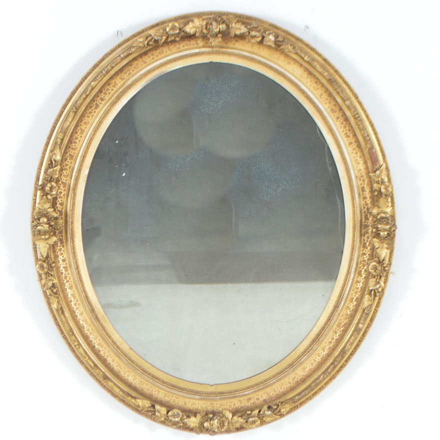 Antique Oval Wall Mirror with Ornate Carved Wood Frame | EBTH