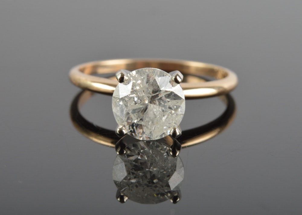 14K Solid Yellow Gold 1.50 CT Diamond Engagement Ring