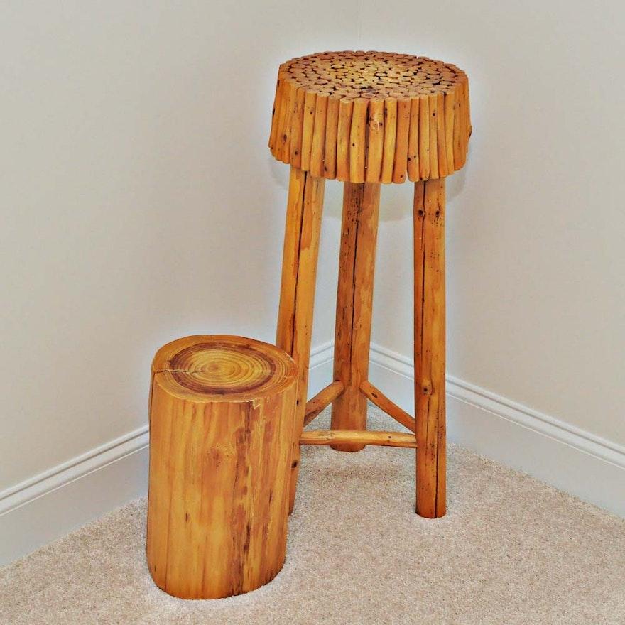 Enjoyable Wooden Stool And Stump Short Links Chair Design For Home Short Linksinfo