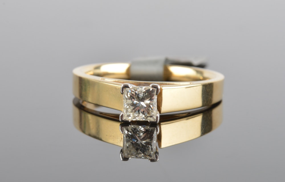 14K Solid Yellow Gold 0.47 CT Diamond Engagement Ring