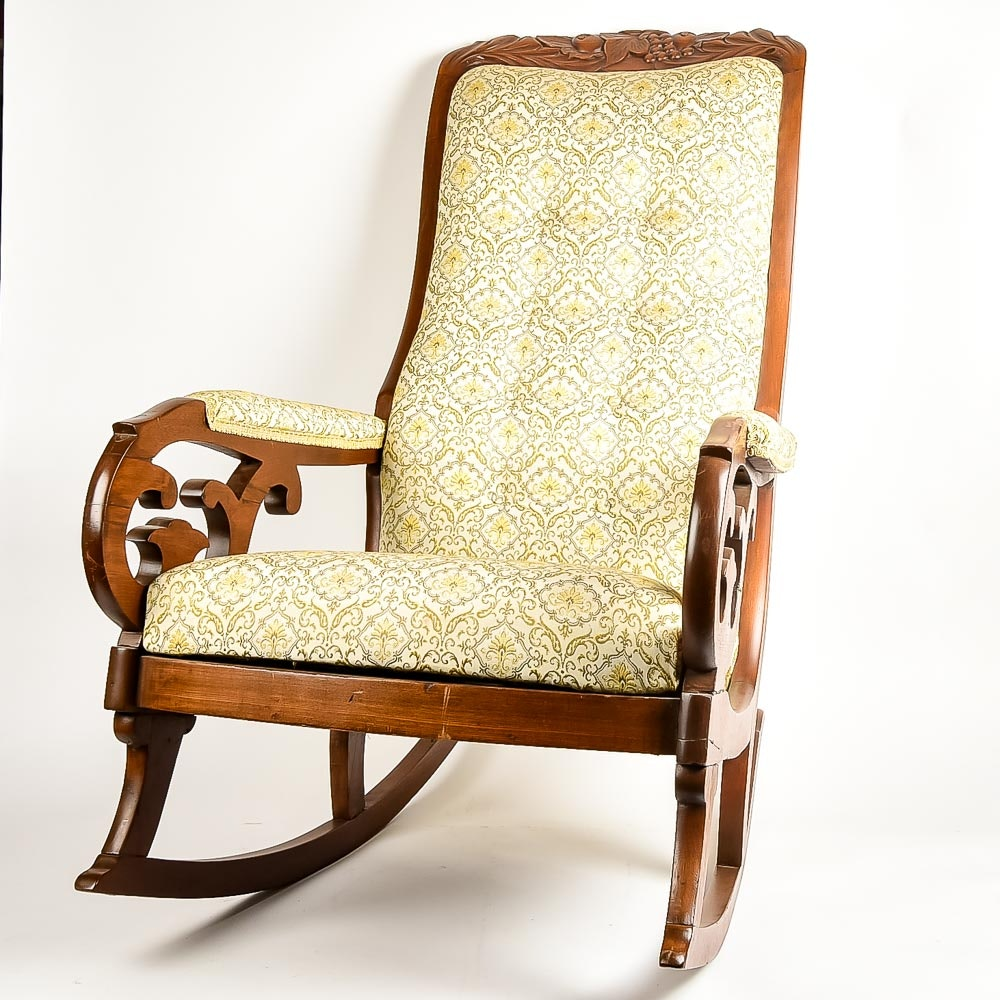 Upholstered Victorian Walnut Lincoln Rocking Chair ...