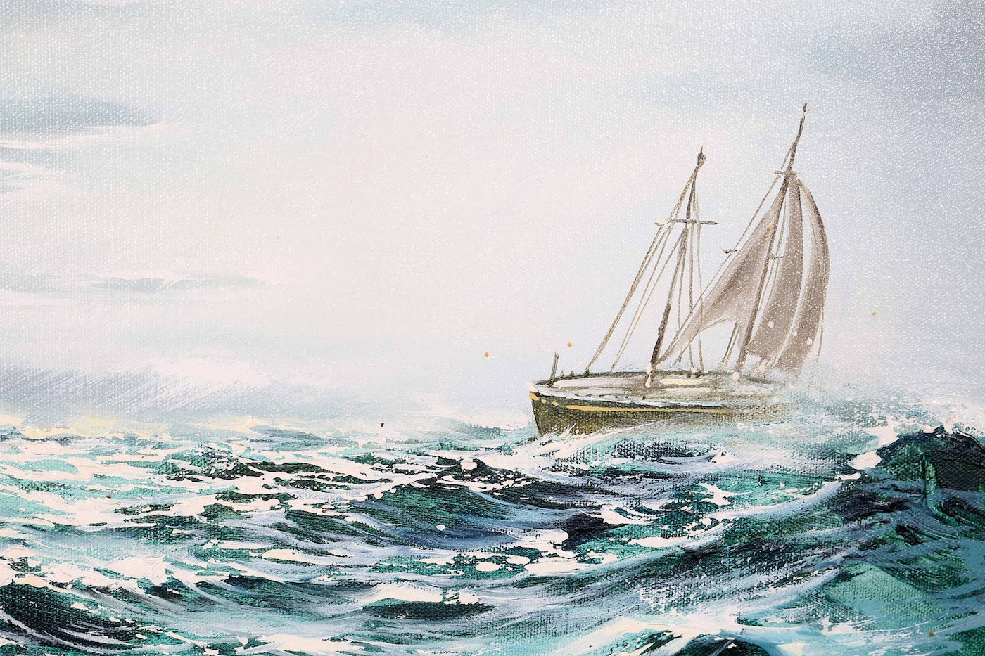 Sailboat Among The Waves Oil Painting