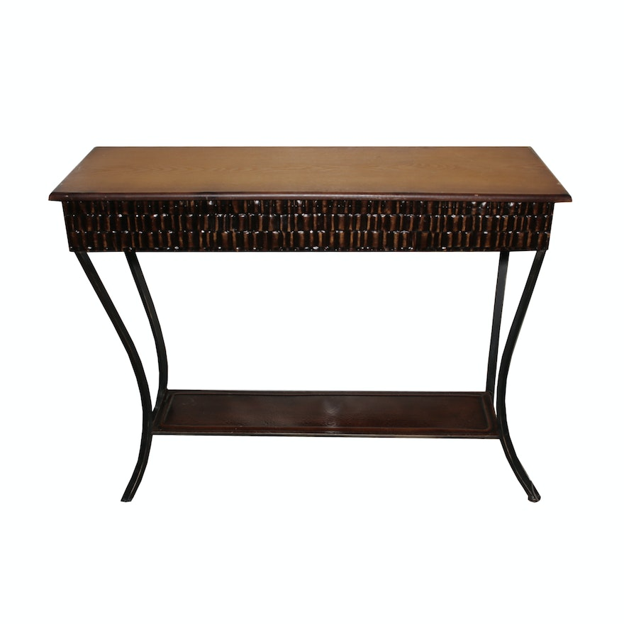 Contemporary wood and metal console table ebth for Contemporary wood console tables