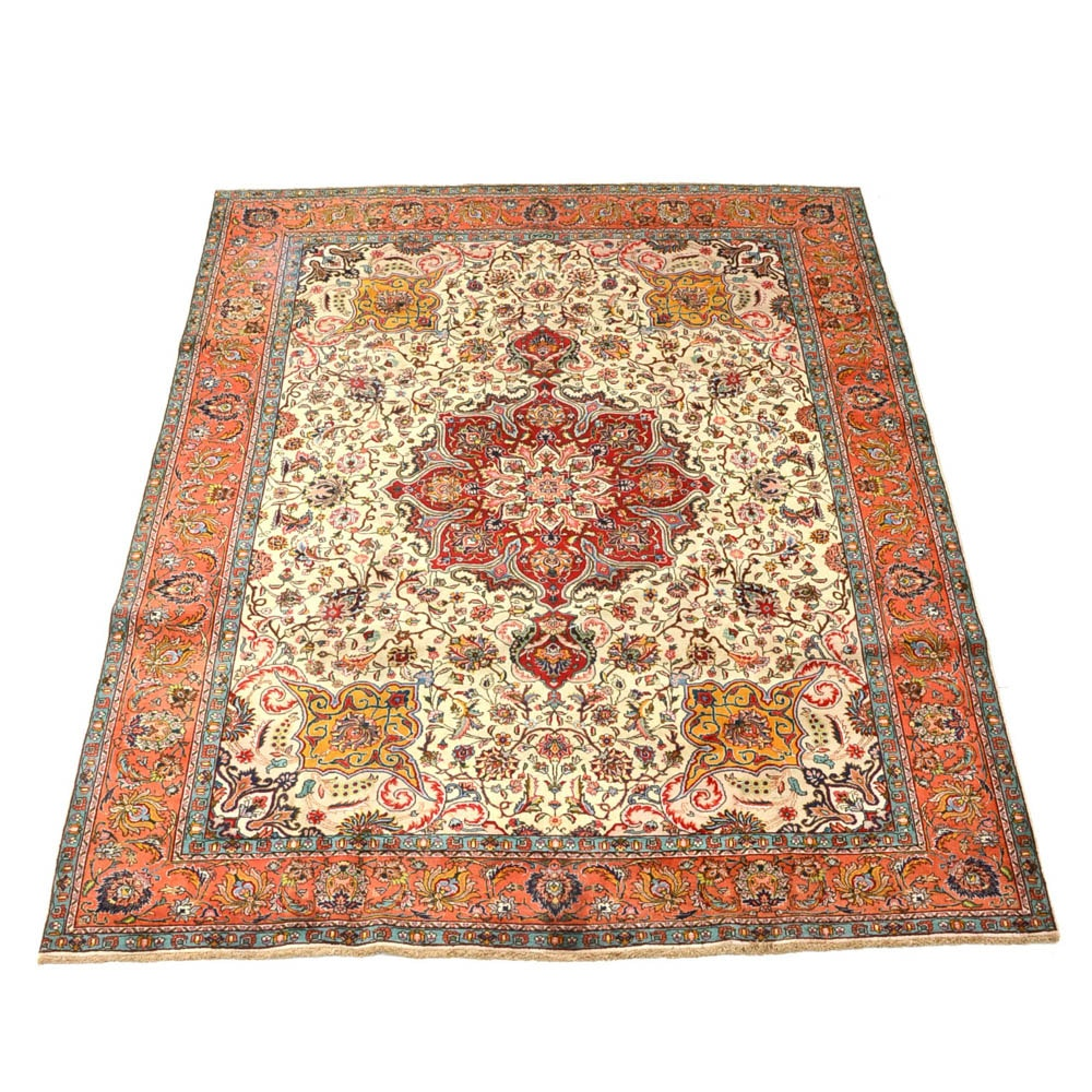 Signed Hand Woven Persian Tabriz Room-Size Area Rug