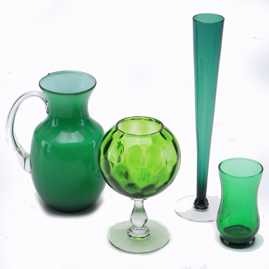 Collection Of Green Vintage Colored Glass Vases Ebth