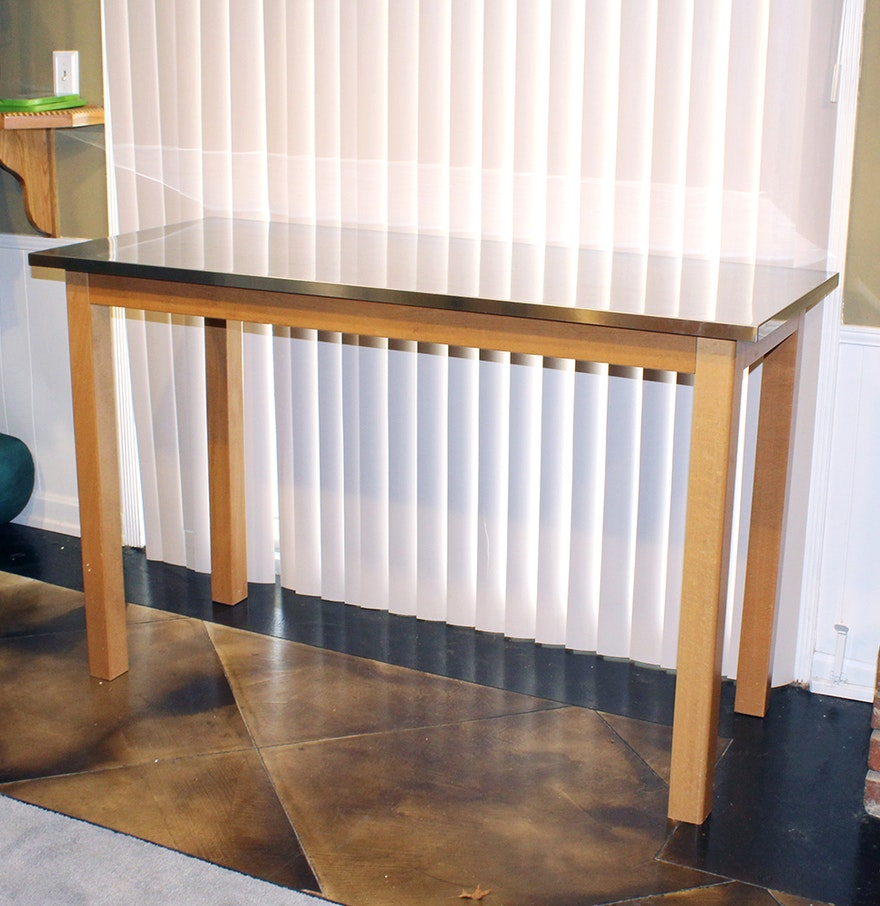 stainless steel top kitchen table ebth