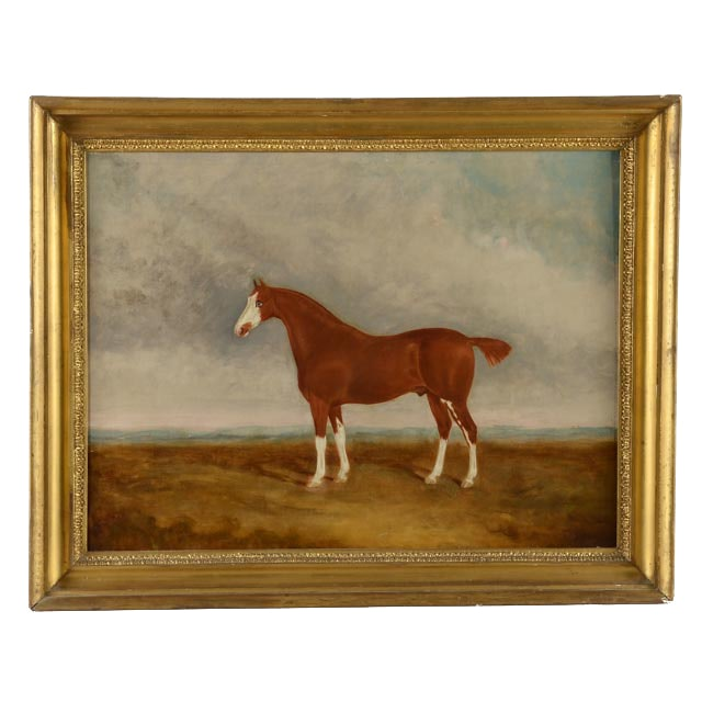 W.E. Baker 19th Century Equestrian Oil Painting on Canvas