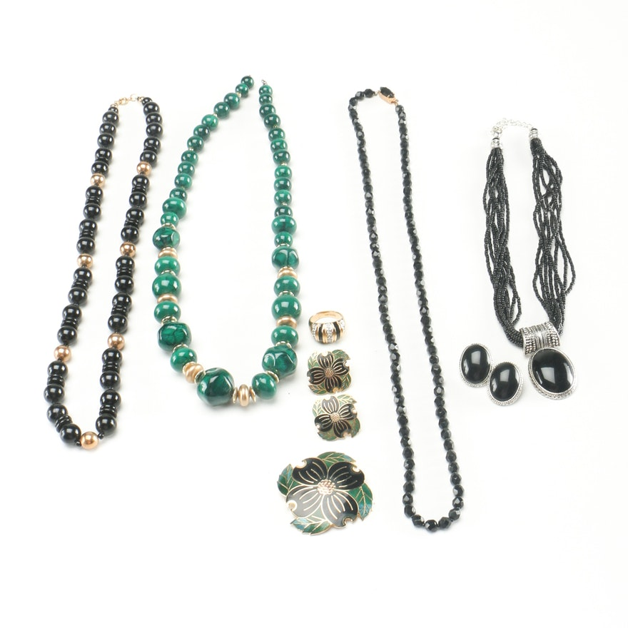2ea50f2029ec Assortment of Green and Black Costume Jewelry   EBTH