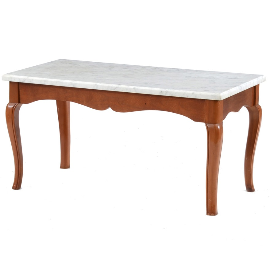 Queen Anne Style Coffee Table With Marble Top Ebth