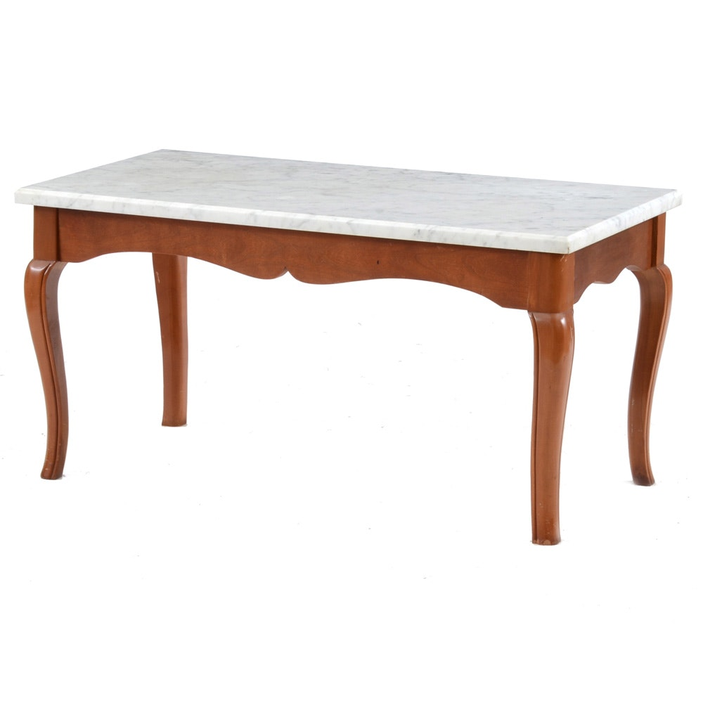 Queen Anne Style Coffee Table With Marble Top ...