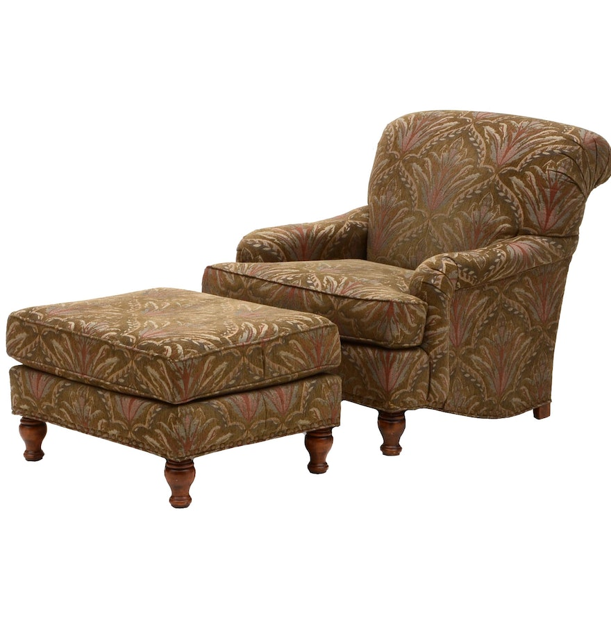 green patterned armchair with ottoman ebth