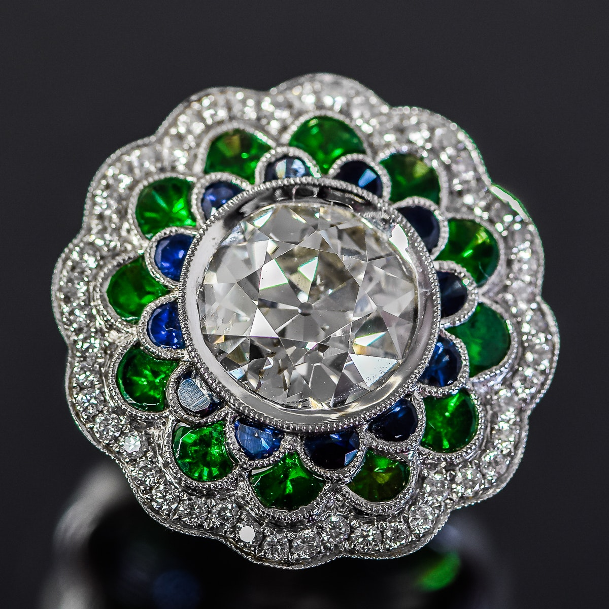 18K White Gold, 4.56 CTW Diamond, Emerald, and Sapphire Cocktail Ring