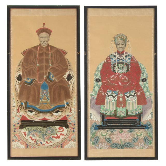 Pair of Hand-painted Chinese Ancestor Portraits