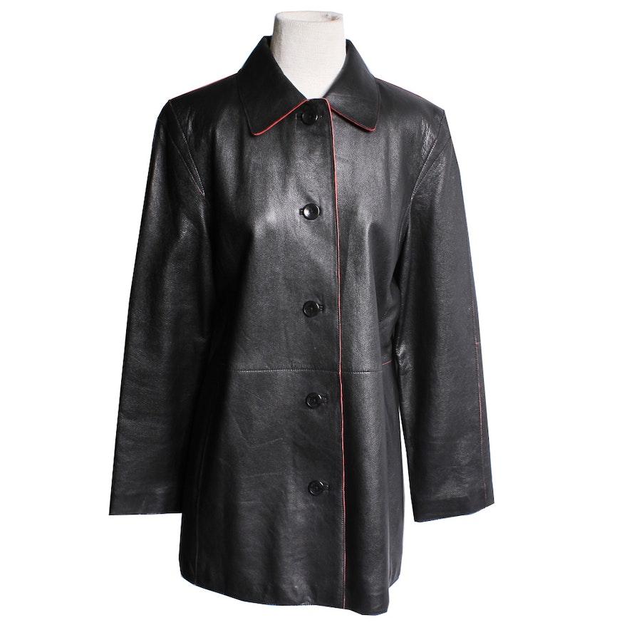 bd56992a4 Siena Studio Black Leather Jacket