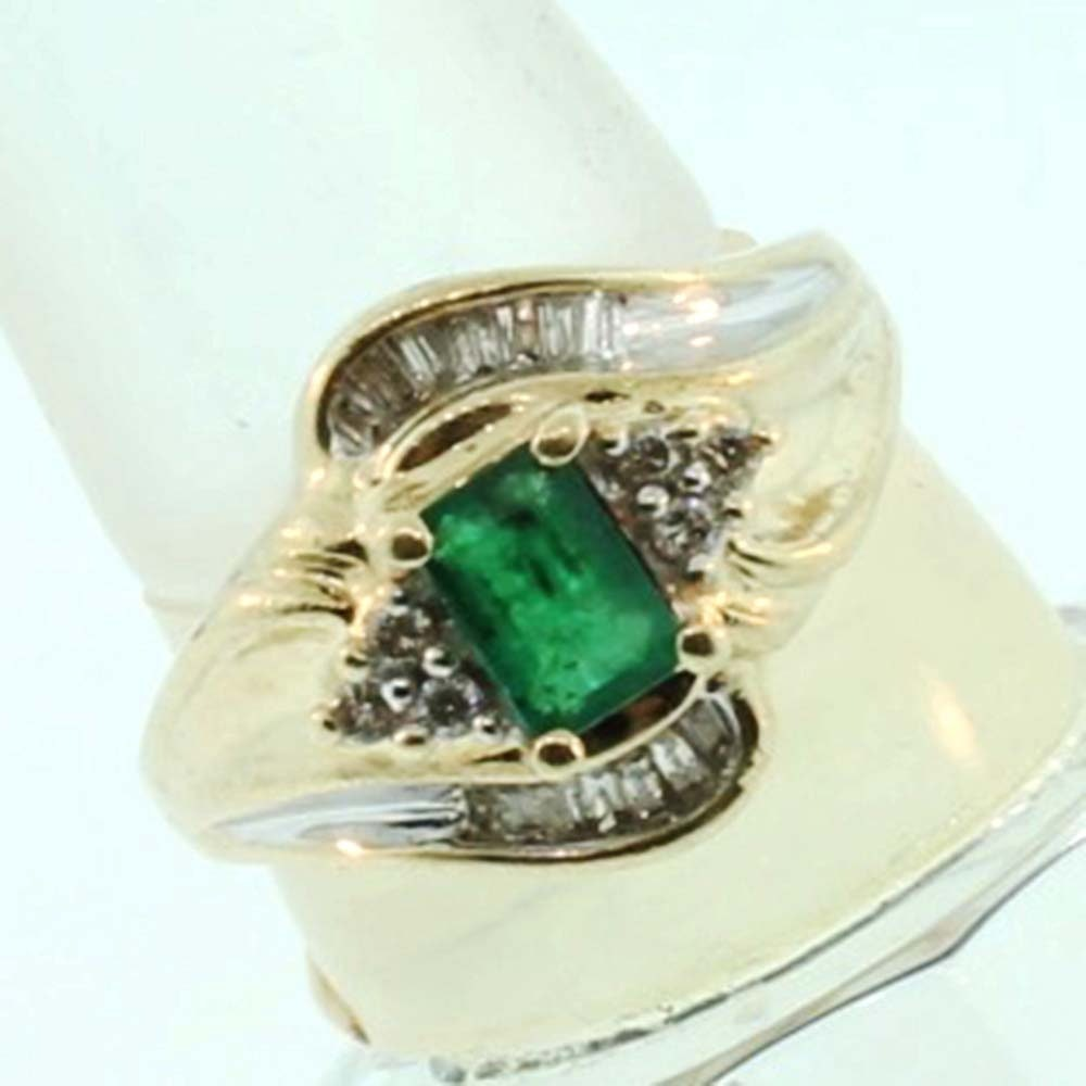 10k yellow gold emerald with ring ebth