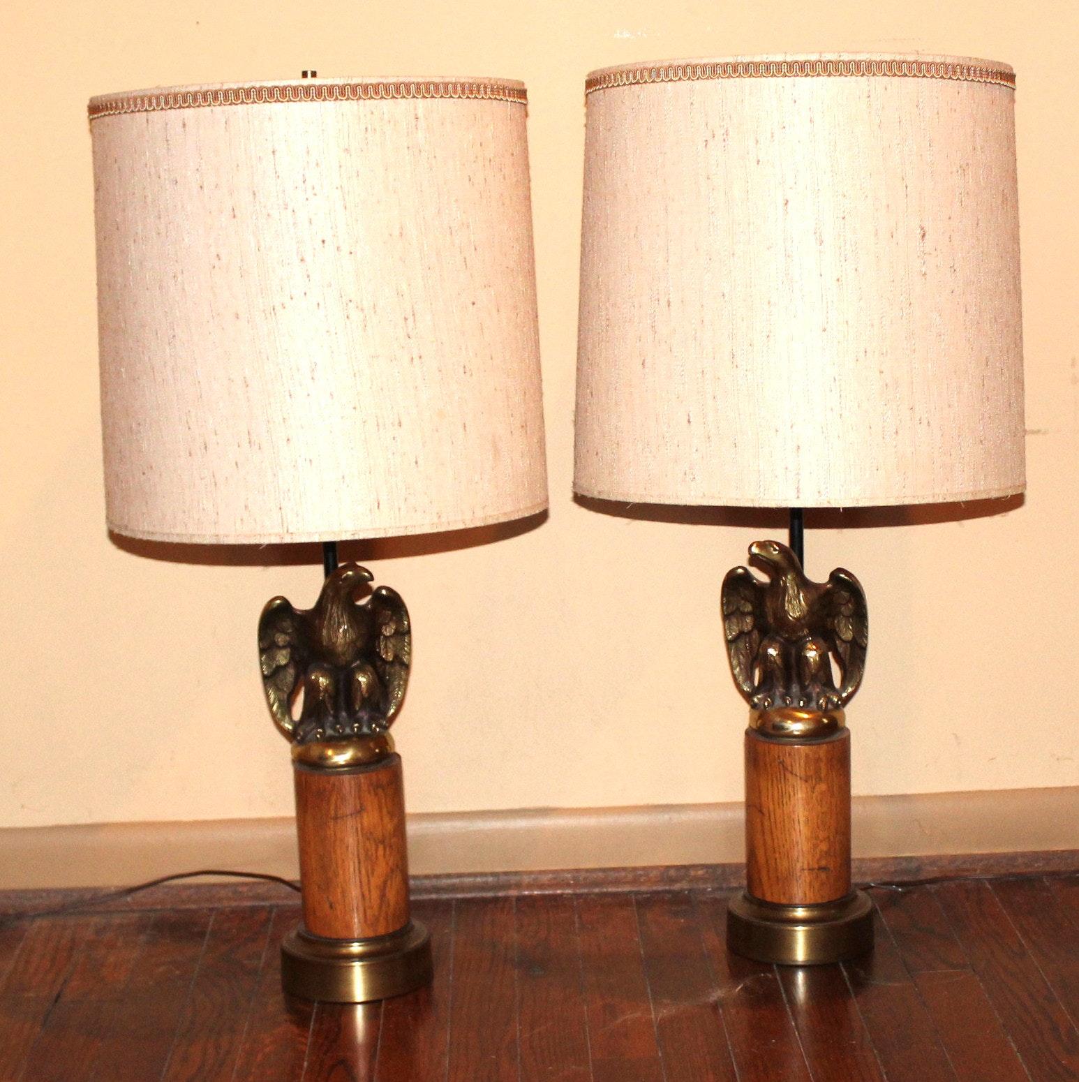 Brass Eagle Lamp Pair ...