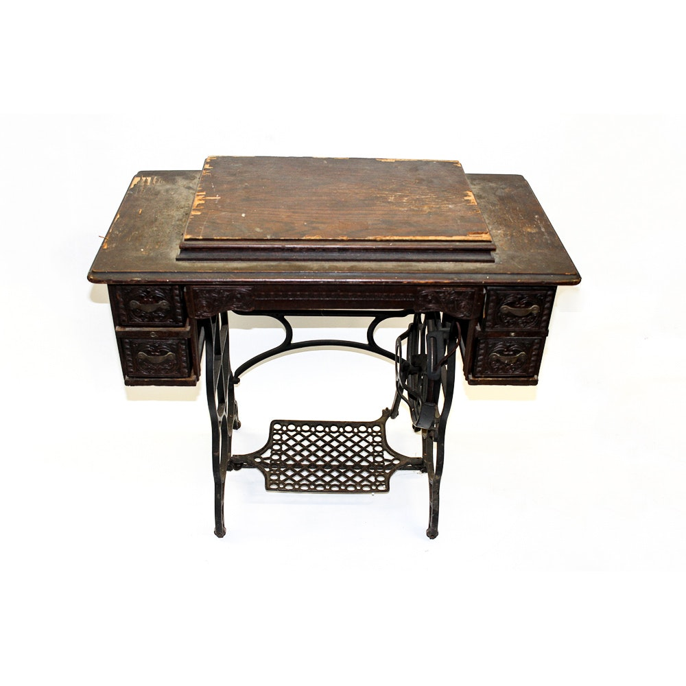 Vintage Wooden Sewing Table With New Victory Sewing Machine ...