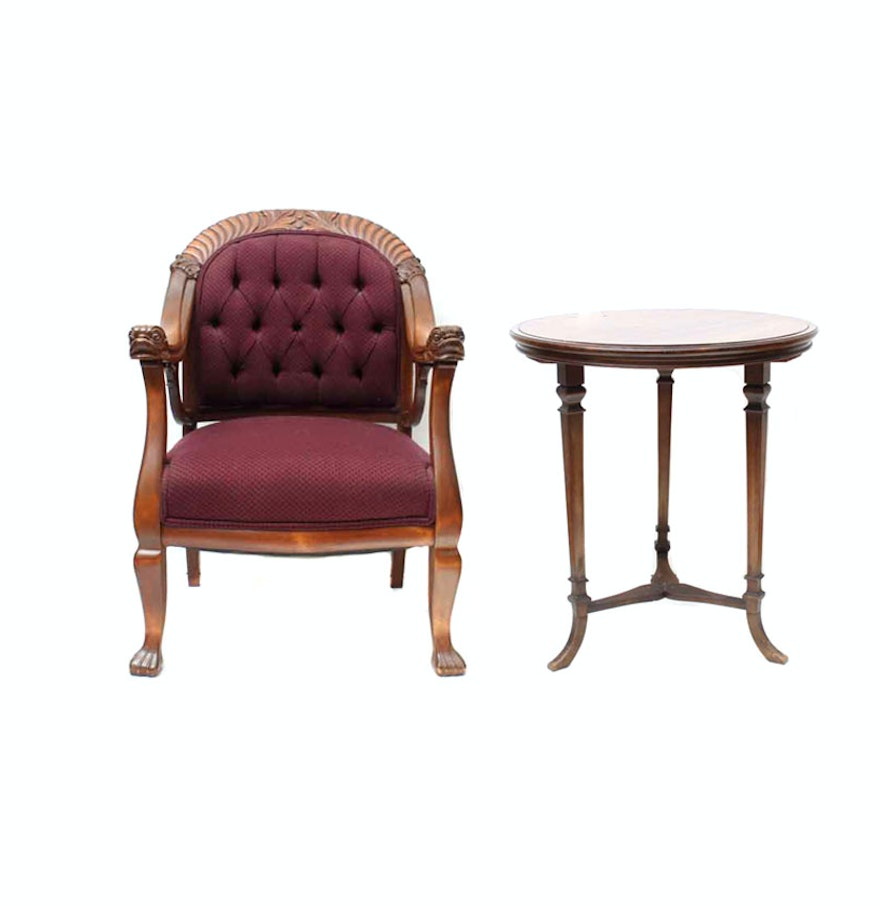 Antique victorian armchair - Antique Victorian Armchair And Side Table