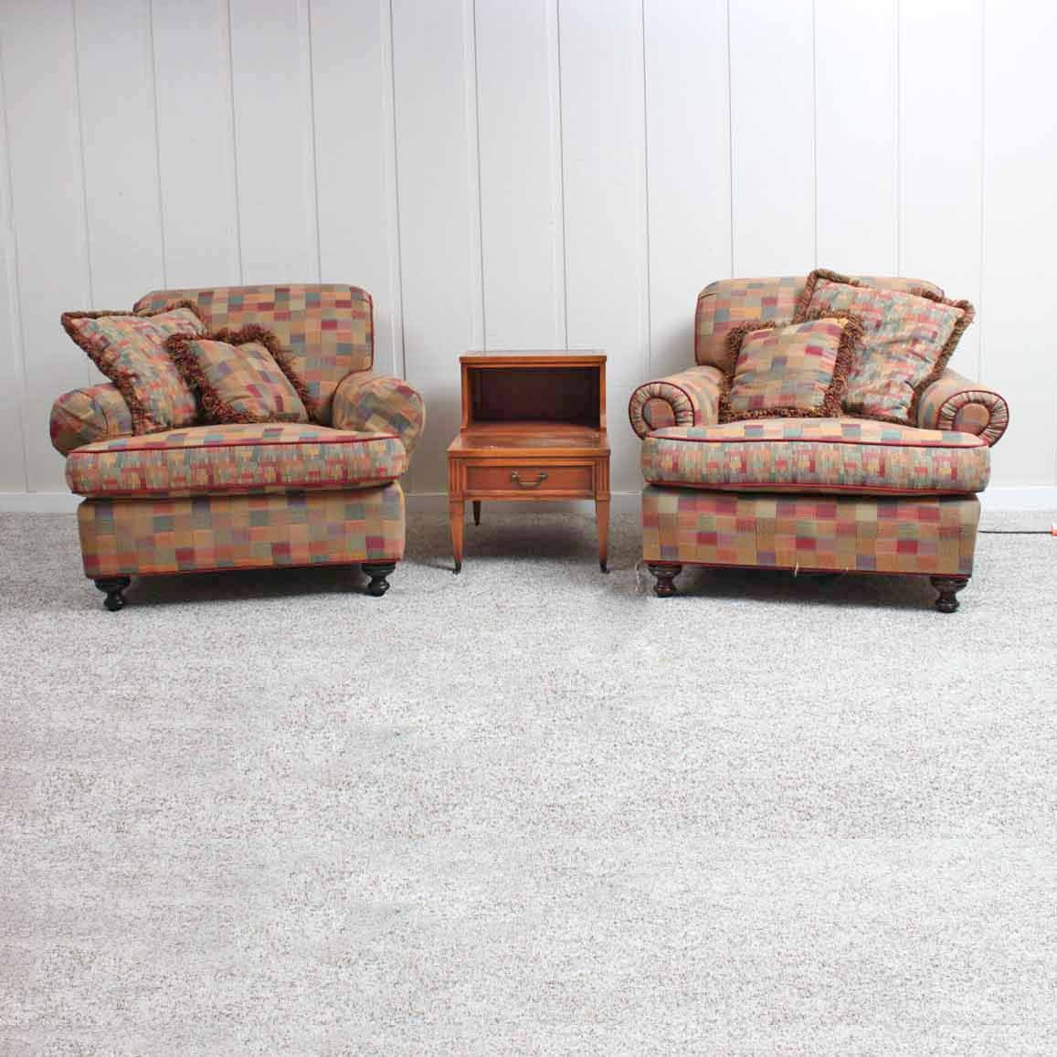 Checkered Overstuffed Armchairs And End Table ...