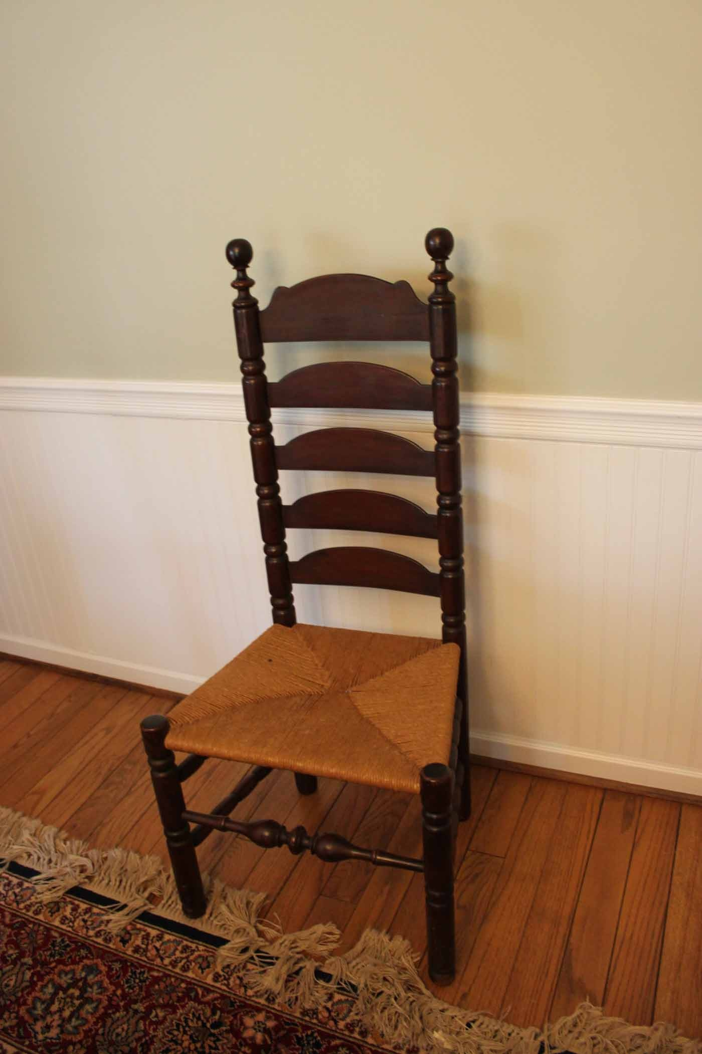 Colonial Dining Table And Ladder Back Chairs Ebth