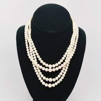 14K Quadruple Strand Akoya Cultured Pearl Necklace