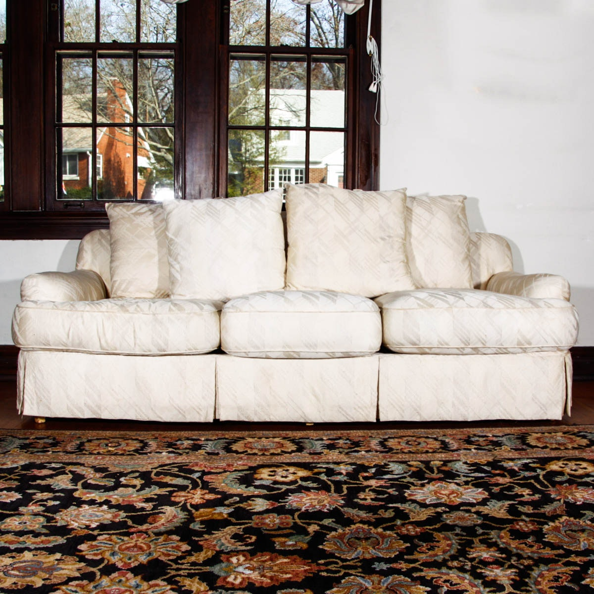 Cream upholstered sofa by hickory fry furniture ebth for Edit 03 sofa