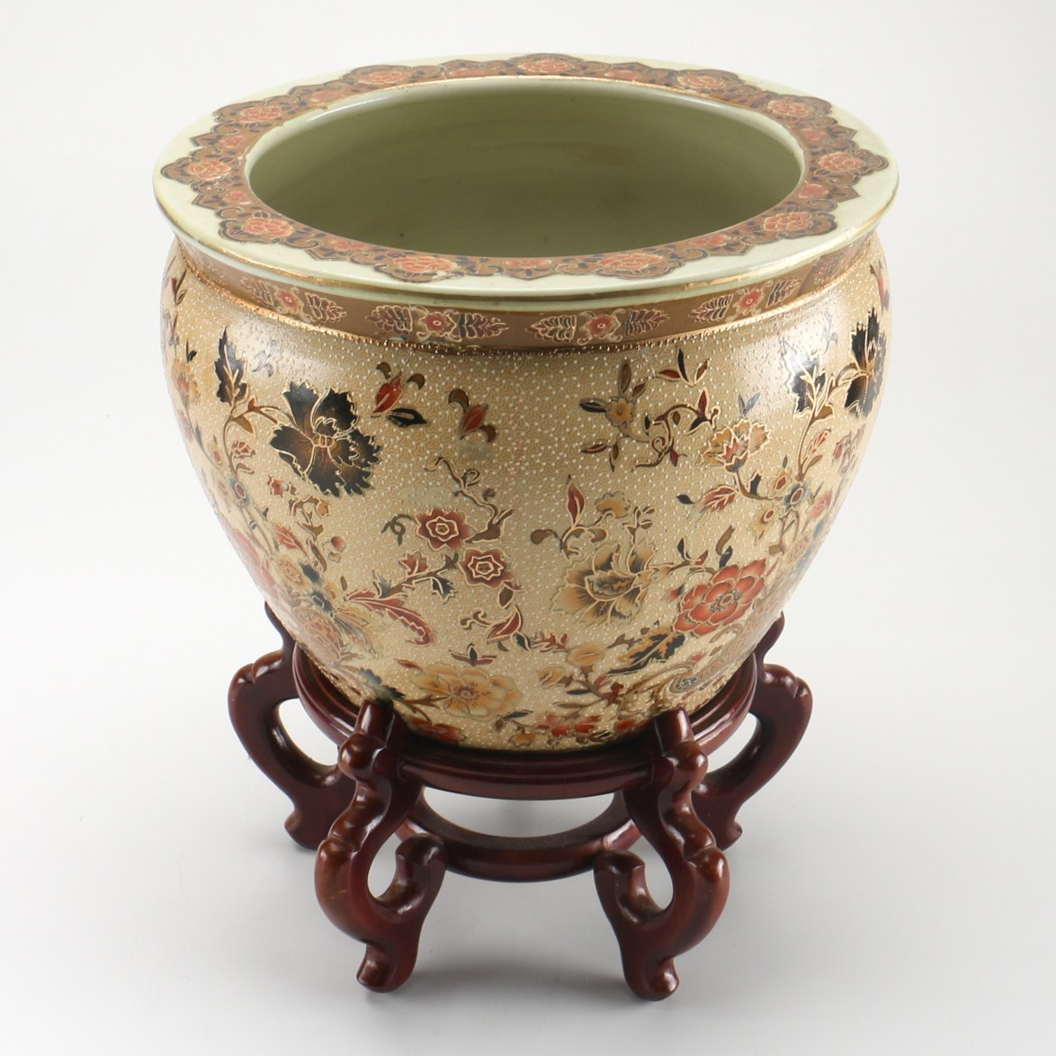 Chinese Porcelain Fish Bowl Planter And Stand Ebth