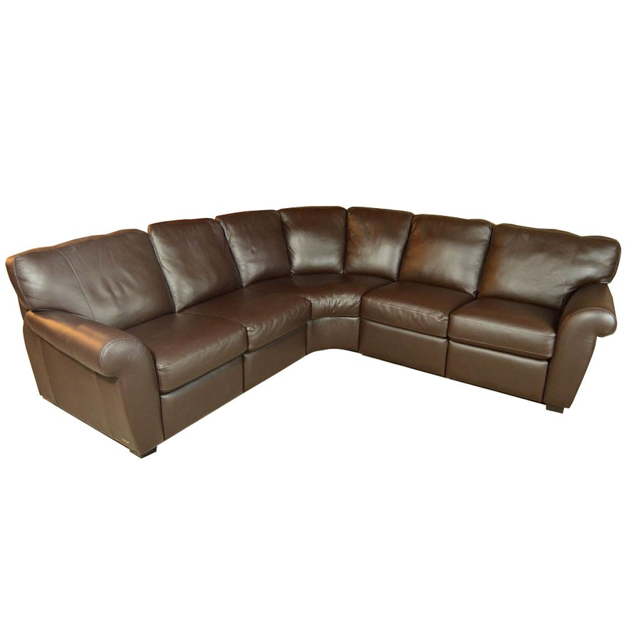 Natuzzi Saverio Curved Leather Sofa Ebth