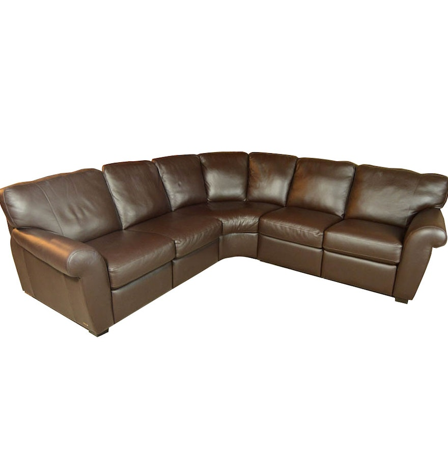 Natuzzi Saverio Curved Leather Sofa EBTH
