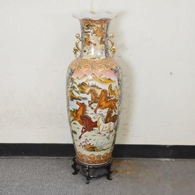 Chinese Horse Theme Floral Panel Porcelain Vase