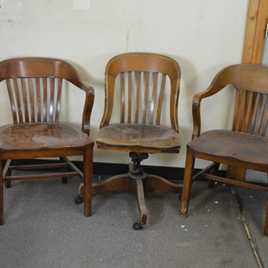 Three Vintage Wood Barrister Style Chairs