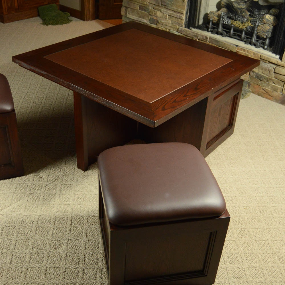 Hammary Furniture Square Cocktail Table With Four Ottomans Ebth