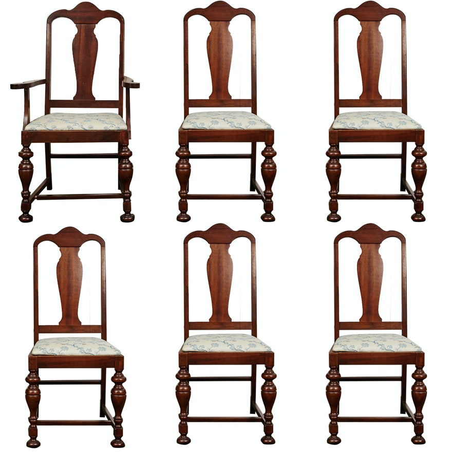Vintage Walnut Fiddle Back Dining Chairs