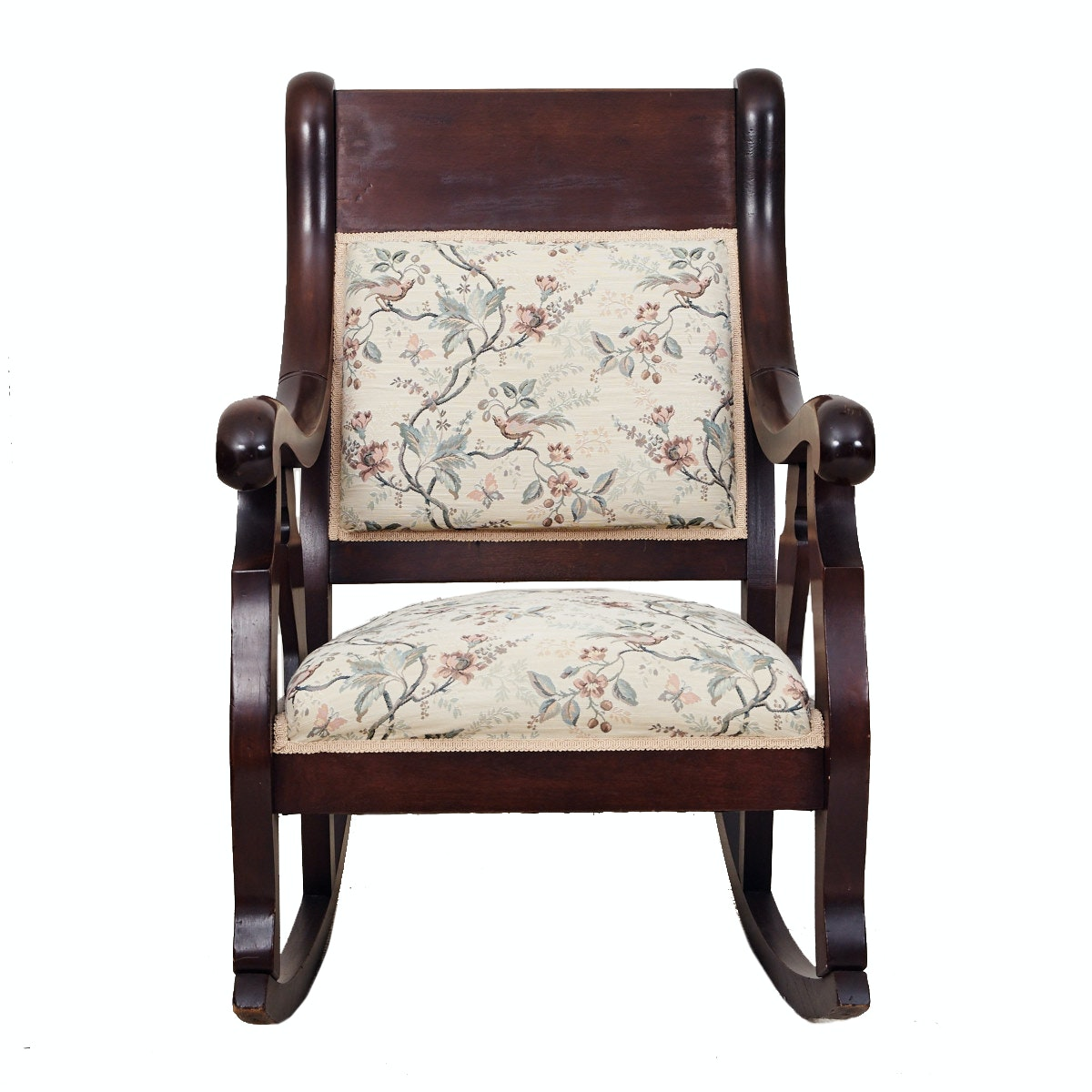 Antique Walnut Rocking Chair With Tapestry Upholstery Ebth