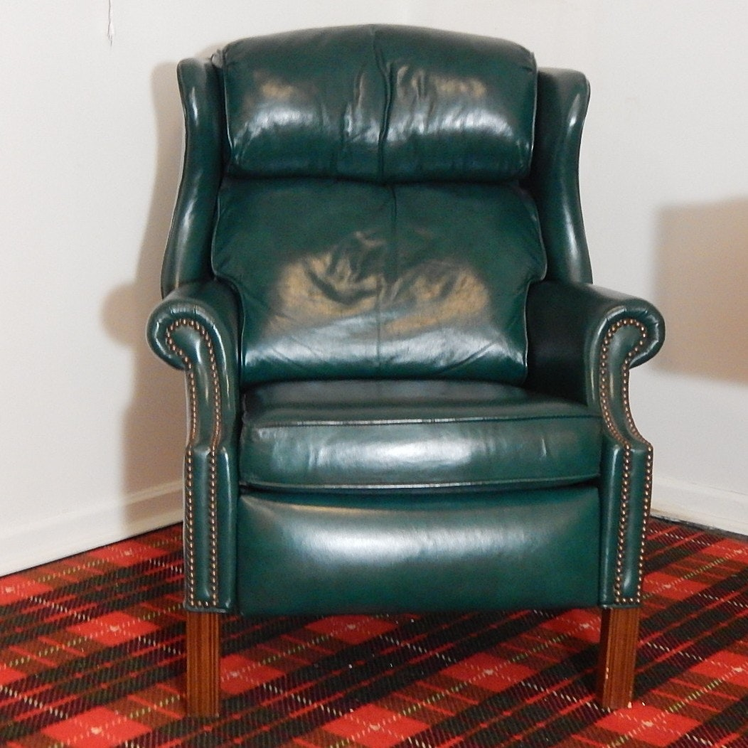 Bradington Young Green Leather Recliner Ebth