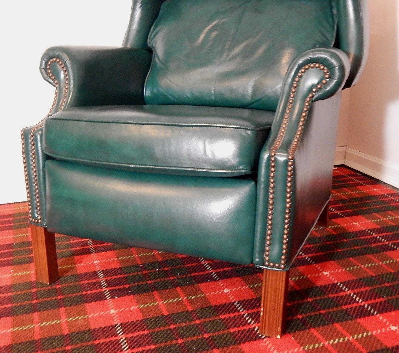 Bradington Young Green Leather Recliner Ebth