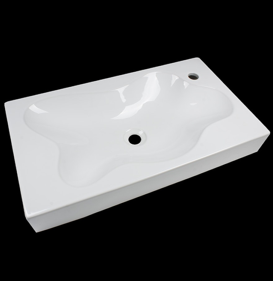 White Fireclay Lobed Puddle Sink : EBTH