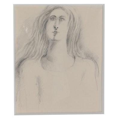 """Bob Guccione Signed Sketch """"Portrait of Woman"""""""