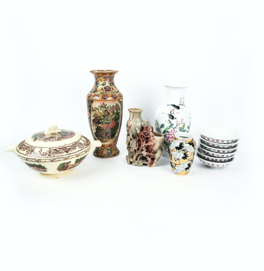 Assorted Asian Items 6 Shallow Soup Bowls 3 Vases 1