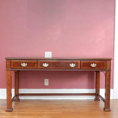 Glass top mahogany writing desk ebth for Oriental style desk