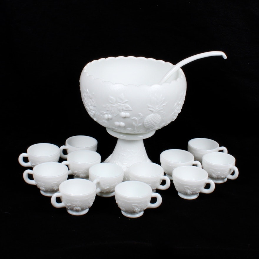 Vintage Milk Glass Punch Bowl Set Ebth