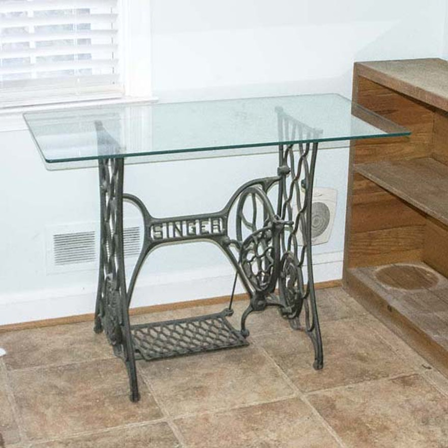 Glass Table With Singer Sewing Machine Base Ebth