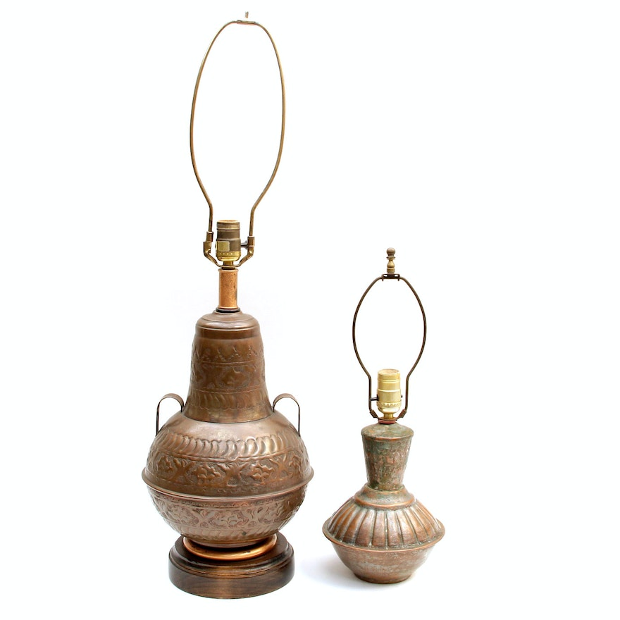 Vintage Tinned Copper Boho Table Lamps