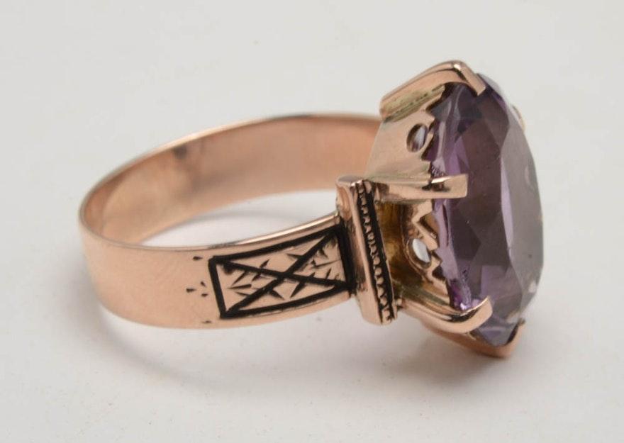 Antique Victorian 8K Rose Gold Amethyst Ring | EBTH