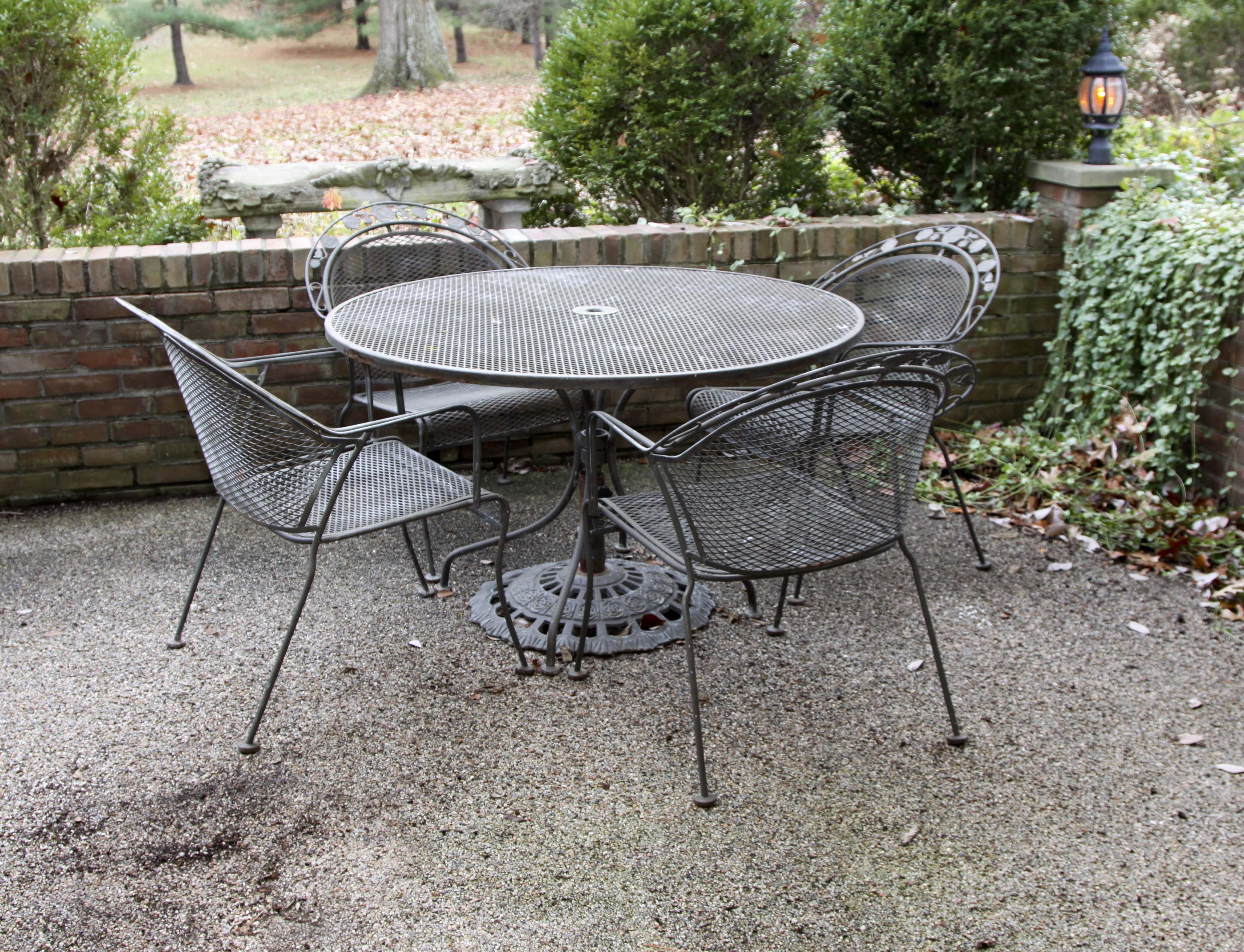 metal outdoor patio table and chairs set ebth