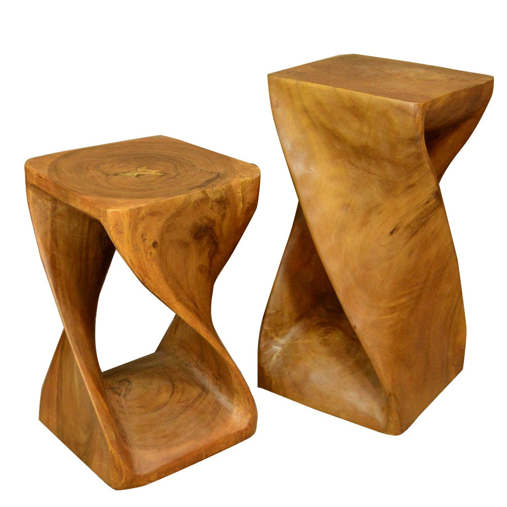 Quot Big Twist Quot Style Walnut End Table And Stool Ebth