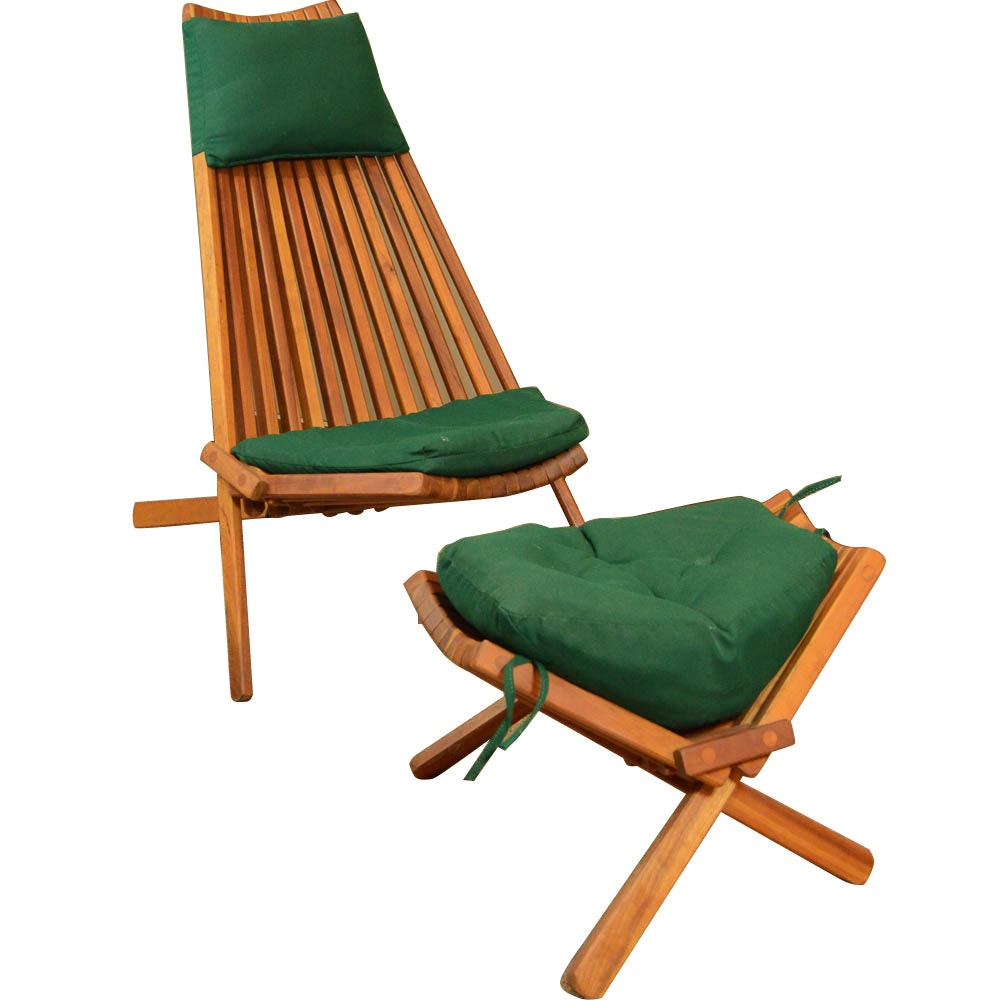 Folding Cedar Kentucky Stick Chair And Footrest ...